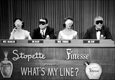 What's My Line? featuring (from left to right) celebrity panelists Dorothy Kilgallen, Steve Allen, Arlene Francis, and Bennett Cerf